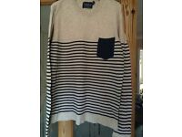 Top Man cream navy jumper size S