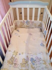 Cot bed with rocking function and underbed storage +mattress , bedding and accessorises