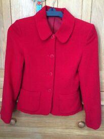 Smart red woollen jacket size 6 (petite)