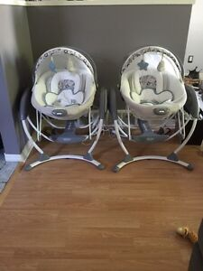 2 in 1 baby glider/bouncer $175 each 3mths old used w/ twins