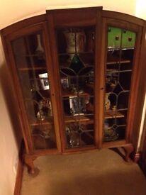 Antique pine display cabinet