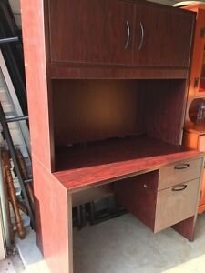 Solid wood Cherry colour desk with hutch  London Ontario image 1