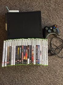 Xbox 360 elite120gb, black wireless controller, plug & play charge kit wireless adapter 22 games,