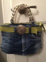 Designer purse- cute demim with green panties