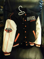 CHILDS REVERSABLE HARLEY DAVIDSON JACKET & WHITE LEATHER ARMS
