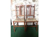 Pair of inlaid tapestry chairs