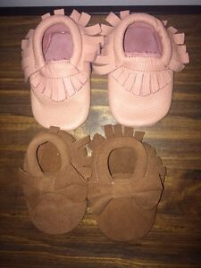 0-6 month genuine leather and suede baby moccasins
