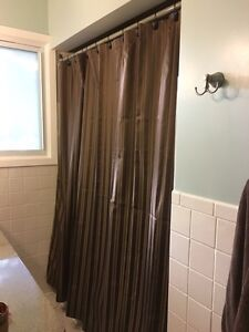 Brown/Mocha/Gold Striped Shower Curtain with Hooks Kitchener / Waterloo Kitchener Area image 1