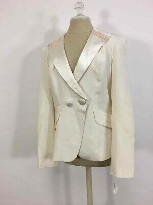 New NWT Kay Unger Cream 100% Silk Blazer Lined Size 12