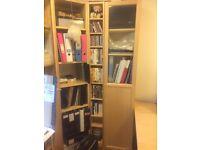 Bookshelf/Cupboard - half/half glass door. 2x available