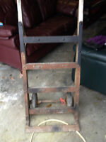 Antique  large heavy industrial wodden hand cart / dolly