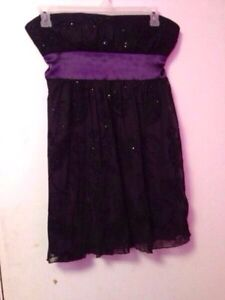 Black and purple strapless dress size 16