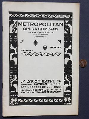 1928 Baltimore,Maryland Metropolitan Opera Company Lyric Theatre program-VINTAGE