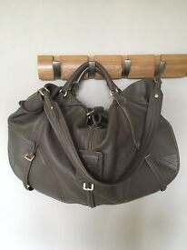 Genuine grey leather Hugo Boss handbag