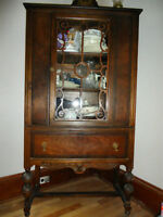 Antique buffet and china cabinet pair