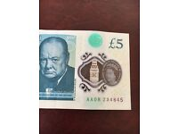 New £5 note AA serial number
