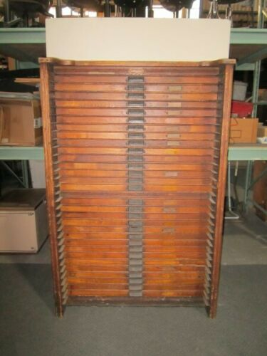 Vintage Antique Hamilton Printers Type 30 Drawer Oak Wood Flat File Map Cabinet