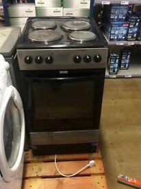 Silver freestanding cooker oven hob