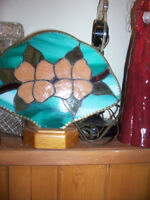 antique stained glass fan lamp, with antique brass edging