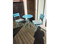 Blue/turquoise patio bistro set