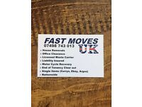'Fast Moves UK' WE WONT LET YOU DOWN! removals, van and 2 man with 1 price. Let us do your hard work