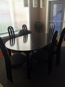 Black Dining Table and 6 chairs + hutch