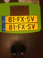 VINTAGE SET OF EUROPEAN LICENSE PLATES