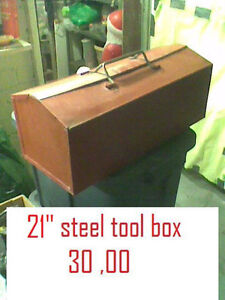 "21"" steel tool box $ 30 / 12volt battery charger $40"