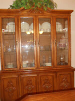 OAK DINING SET WITH 6 CHAIRS, 2 ARMCHAIRS,CHINA CABINET