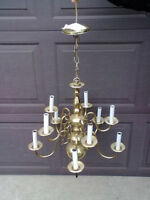 CHANDELIER FIXTURE 10 LIGHT BRASS NEW