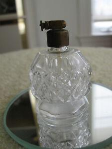 OCCUPIED JAPAN DIAMOND-PATTERN CLEAR GLASS PERFUME BOTTLE