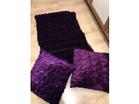 Purple double bed throw and scatter cushions- brand new