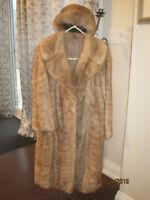 Golden Fur Coat & Hat For Sale