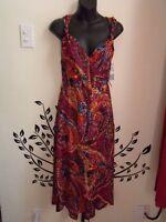 NEW London Times multicolor faux wrap dress - Size 8 (Medium)