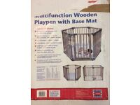 Clippasafe Multifunction Natural Wooden Playpen with Base Mat in excellent used condition