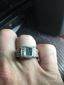 14 care blue and white diamond ring 3 ctw