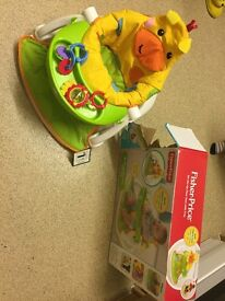 Unisex Giraffe sit up with rattles and tray