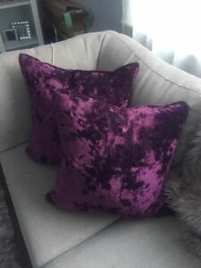 2 Magenta Velvet Pillows