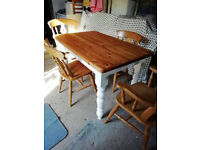 Farmhouse Pine Table and 4 chairs
