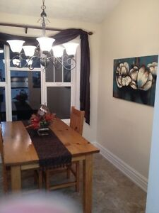Beautiful wood table - seats 6! Comes with two captains chairs! Strathcona County Edmonton Area image 2