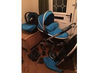 Silver Cross Sky Blue Surf 2 With Simplicity Car Seat