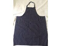 Blue and white stripe butchers apron