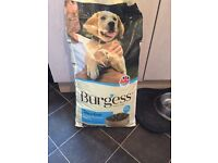 Burgess puppy sensitive 12kg bag and 3/4 12kg bag.