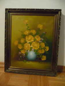 Oil Painting on canvas with yellow roses