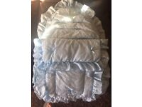 BEAUTIFUL BLUE broderie anglaise CAR SEAT FOOTMUFF