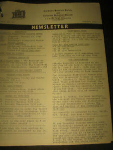 [From '79 to '83]...COL.HISTORICAL SOCIETY & MUSEUM NEWSLETTERS