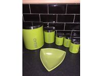 Lime green kitchen jars