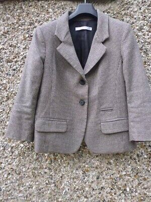 Jucca Ladies short length blazer in brown/oatmeal houndstooth check, size 12?