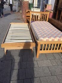 Solid oak single bed with pull out guest bed