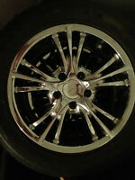Set of chrome Rims and Tires for sale